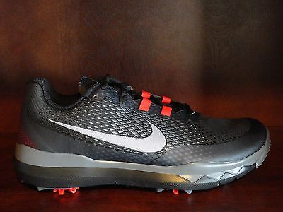 New  Mens Nike Tw Tiger Woods Golf Spikes Shoes Black Red Grey White