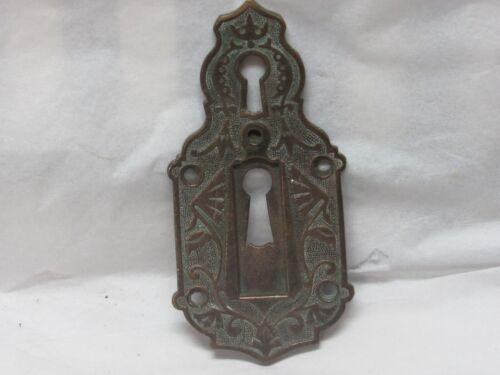 Antique Cast Bronze Victorian Skeleton Keyhole ESCUTCHEONS LARGE 1879