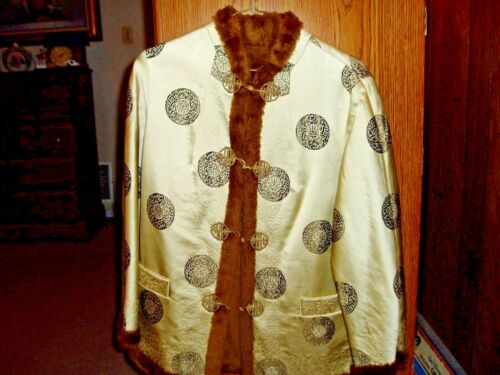 Vintage Tan & Brown Satin & Silk REVERSIBLE Asian Kimono Type JACKET