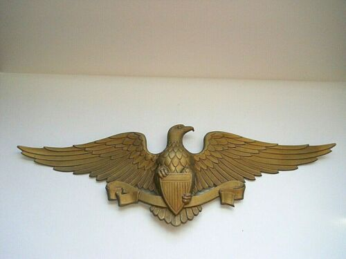 Vtg Sexton Gold Tone Cast Metal Patriotic Eagle Wall Decor 1970s Americana