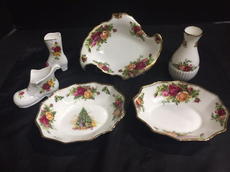 ROYAL ALBERT 1962 OLD COUNTRY ROSES ASSORTMENT OF 6 PIECES-EXCELLENT