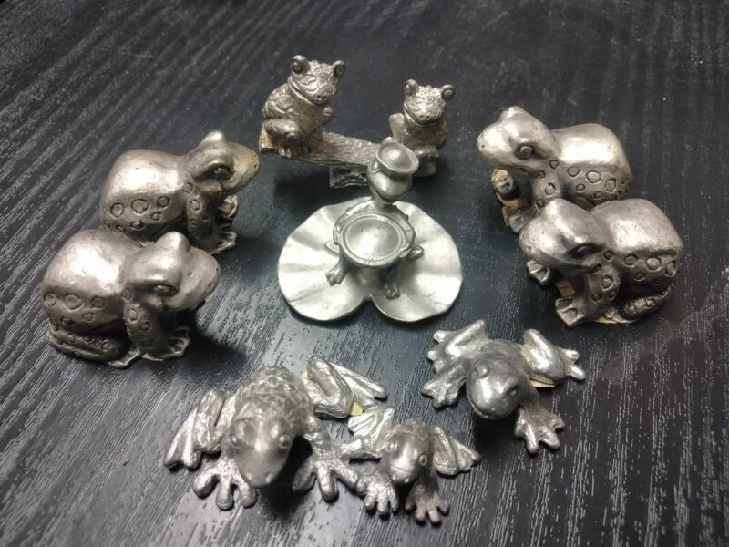 Lot Of 8 Pewter Frogs Toads Cool Lot