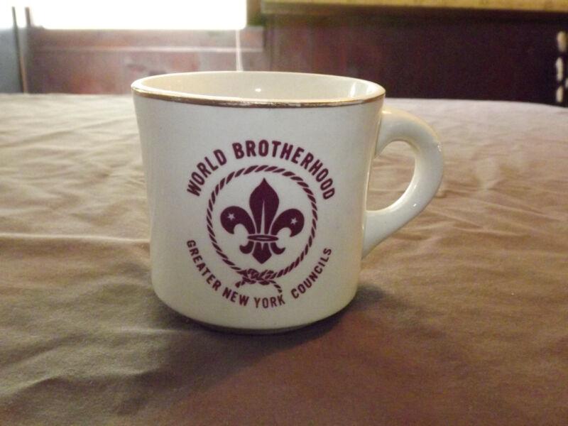 VINTAGE BSA BOY SCOUTS MUG WORLD BROTHERHOOD NEW YORK COUNCILS