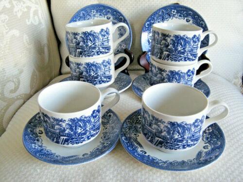 Currier & Ives Blue Churchill  6 Flat Cup & Saucer Sets Blue Transferware