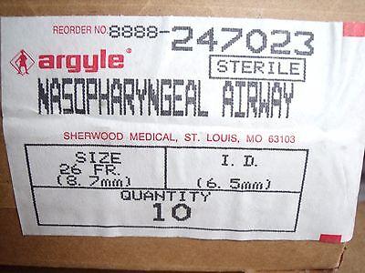 New Box Of 10 Argyle Nasopharyngeal Airway 6.5mm 26 Fr Ref 247023 Sterile K5
