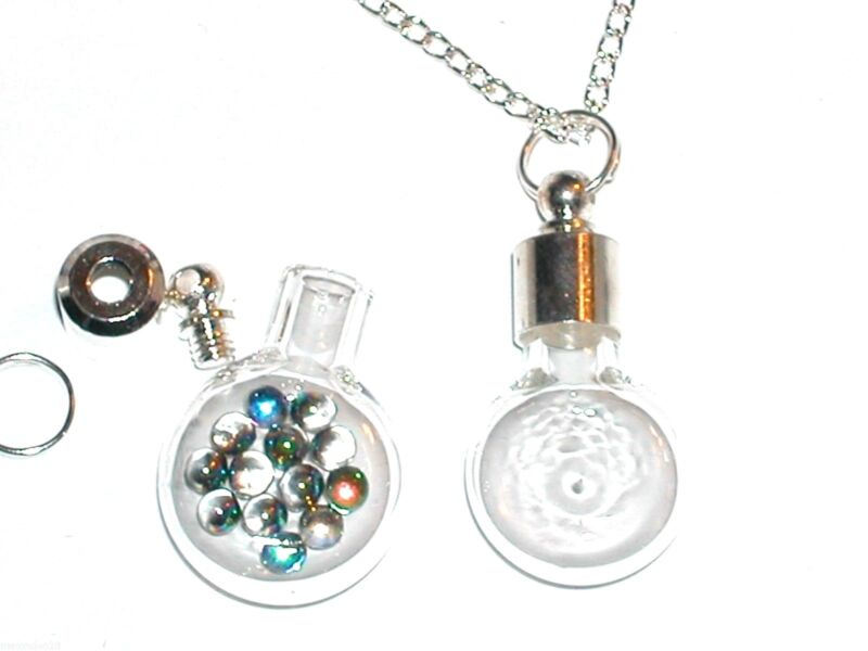 1pc Glass small Flat Round Bottle vial pendant with Necklace glue Screw cap Top