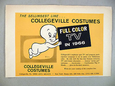 Collegeville Costumes PRINT AD - 1966 ~Halloween costumes, Casper Friendly Ghost - Casper Friendly Ghost Halloween Costume