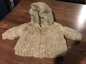Fur lined baby sweater 0-3 mos