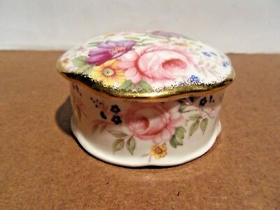 FENTON BONE CHINA,  TRINKET DISH, HEXAGONAL LID, FLORAL DESIGN CONTINUES INSIDE