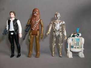 Vintage Star Wars Figures - Han Solo, Chewbacca, Jawa, etc.