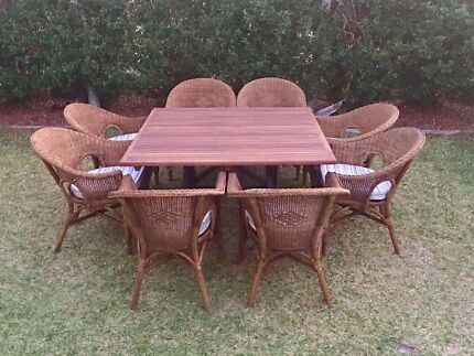 Solid Hardwood Timber Outdoor Table With 8 X Cane Chairs Part 62