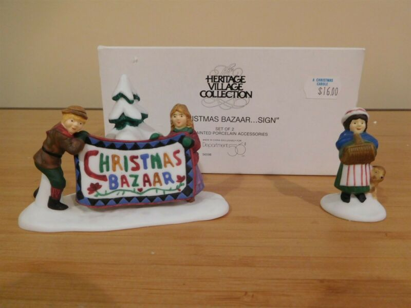 Dept 56 New England Village - Christmas Bazaar..Sign - Set of 2 - Free Shipping