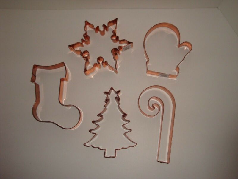 Williams-Sonoma S/5 LARGE Copper Cookie Cutters NEW Christmas Holiday