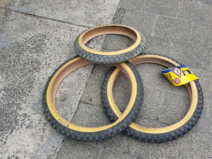 3 nos bmx bike gumwall tyres 16inch 20inch tires