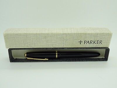 Vintage Serviced Black Parker UK New Duofold Lady with 14 ct Gold Nib and Origin