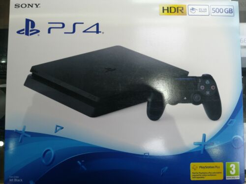BRAND+NEW+SEALED+Playstation+4+Slim+PS4+500GB+CONSOLE+UK+JET+BLACK+NEXT+DAY+DEL