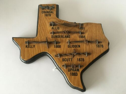 Wooden Display Barbed Wire on Texas Plaque 7 Samples with Names Dates