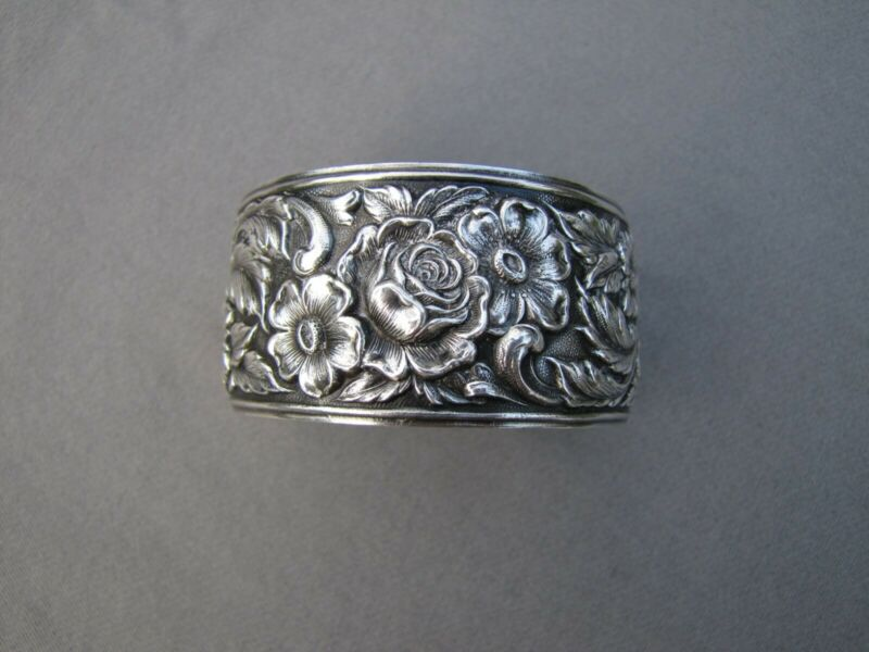 Vintage Wide Floral S. Kirk and Son Sterling Silver Cuff Bracelet 48 grams