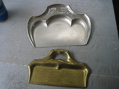 Two Vintage Metal(Manning Bowman, Conn. USA) & Brass Crumb Pans-Need Polishing
