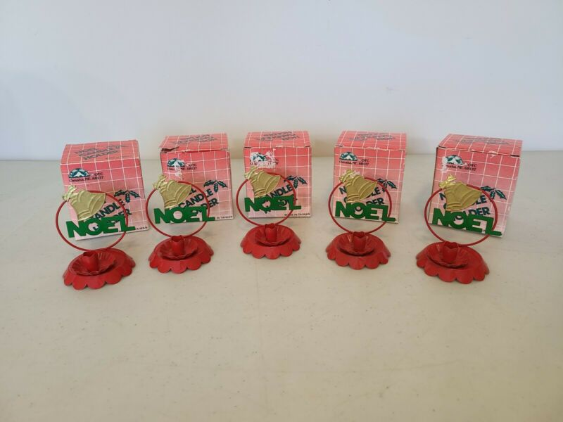 LOT of 5 Matching NOEL Candle Holders Christmas Vintage NEW Boxes OTC