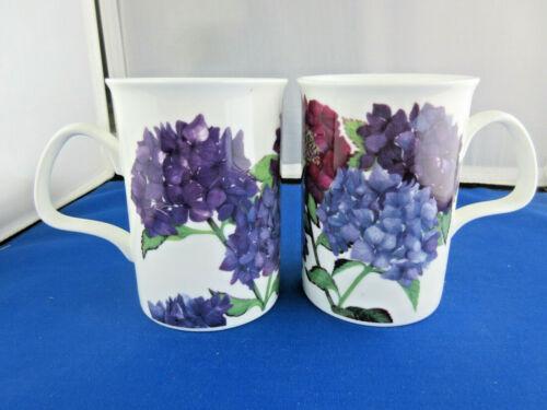 HYDRANGEA PAIR of 2 FINE BONE CHINA mugs MADE IN ENGLAND  by Roy Kirkham  NEW