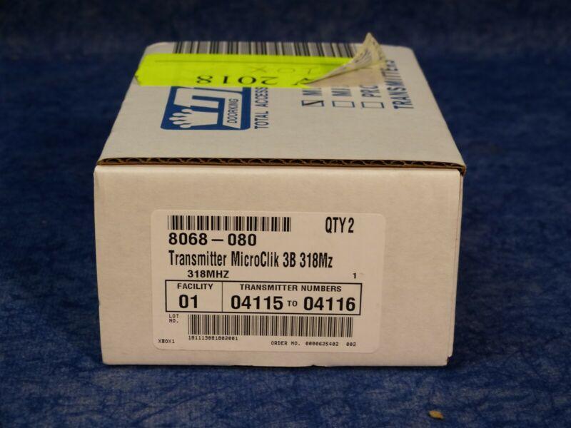 NEW Doorking 8068-080 Transmitter MicroClik 3B 318Mz, 2 pack box