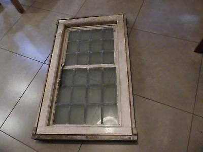 (ref255) Antique leaded window measures 105cm x 65cm