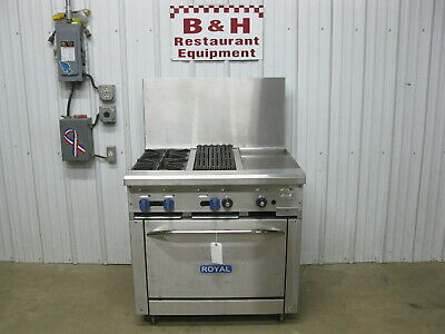 Royal 36 Natural Gas Stainless 2 Burner Range 12 Griddle Charbroiler W Oven