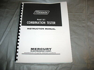 Manual Test Setup Charts For Mercury 301 Combination Tube Tester Schematic