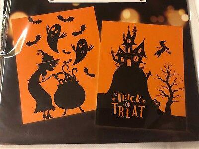 2x Tesco Haunted Halloween Party Creepy Witch Bats Window Silhouette Decorations - Tesco Halloween