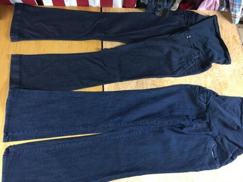 2 Jean Lot Maternity INDIGO BLUE Secret Fit Belly dark boot cut stretch M EUC
