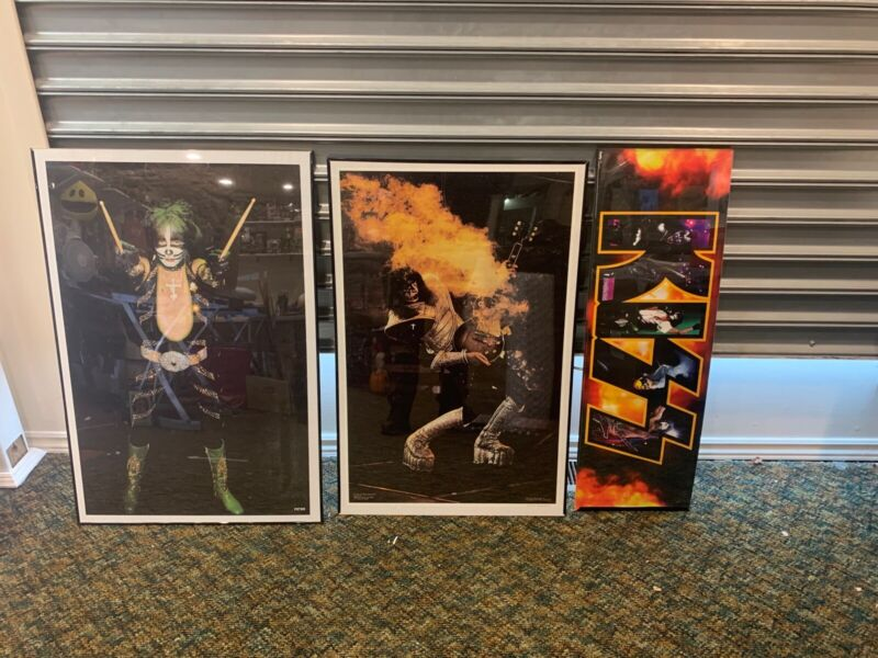 3 KISS POSTER LOT 1977 ace frehley smoking guitar poster & PETER POSTER