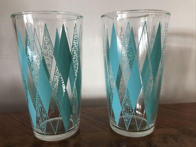 2 Vintage Hazel Atlas Gay Glasses Aqua Turquoise Diamond Pattern Glass Tumblers