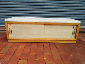 Retro 1960s Bench With Vinyl Seat And Underneath Storage