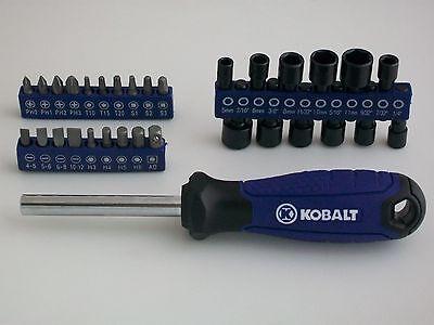 NEW Lowe's Kobalt 32pc Screwdriver/Nut Driver Bit Set With Kobalt Handle