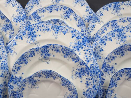 Shelley Dainty Blue DINNER set for 8 Gold Salad Bread Plate Blue Bone China