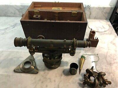 Antique W L.e. Gurley Surveyors Brass Transit W Base Wood Case Plumb Bob
