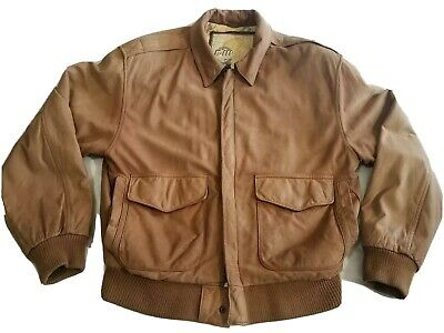 R6 G-III leather jacket mens brown motorcycle bomber distressed look size small