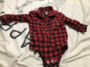 Carters brand EEUC 12 month checkered Christmas themed onesie.