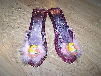 Disney Princess Aurora Sleeping Beauty Pink Slip On Costume Shoes Dress Up EUC](Sleeping Beauty Dress Up Shoes)