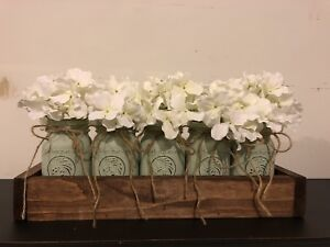 Homemade Wooden Trays with Mason Jars/Flowers