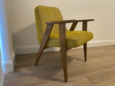 366 Concept Loft Armchair Original Mid-century Wooden Chair Fabric Mustard