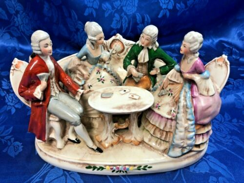Beautiful Antique Porcelain Figurine of Two Couples Playing Cards Germany