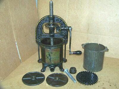Enterprise Cast Iron 4 Quart Lard Fruit Cider Apple Press Sausage Stuffer 25