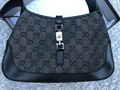 Vintage Gucci Black Monogram Canvas & Leather Shoulder Bag