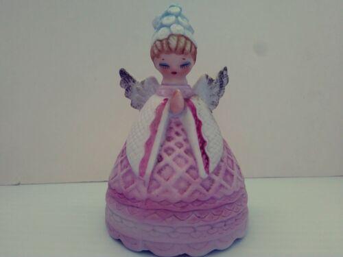 """Vintage LEFTON praying Angel Bell Pastel Porcelain Pink Robe Blue Flower Hat 4"""""""