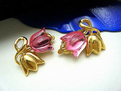 Trifari TM Vintage 1990s Earrings Pink Acrylic Tulip Flowers Gold Tone Clip Ons on Lookza