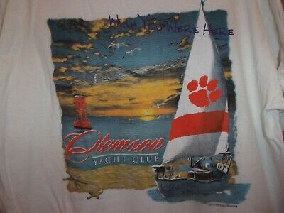 Clemson Yacht Club L white t shirt permanent Vacation wish you were here sail