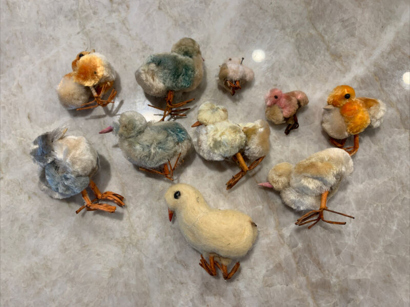 Vintage Spun Cotton Chenille Easter Chicks Wire Feet Occ Japan Lot Of 10