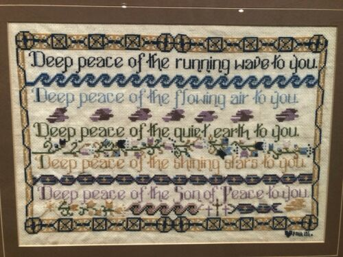 Vintage Cross-Stitch Celtic Prayer Sampler - Unique!